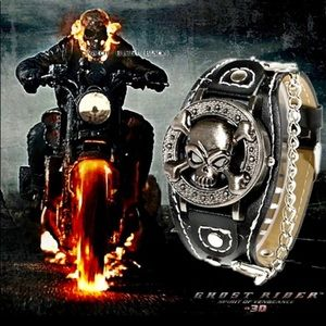 Accessories - Men's Skull Face Locket Watch w/Black Leather Band